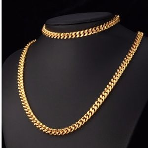 Other - New 18K Gold Cuban Necklace/ Bracelet Set